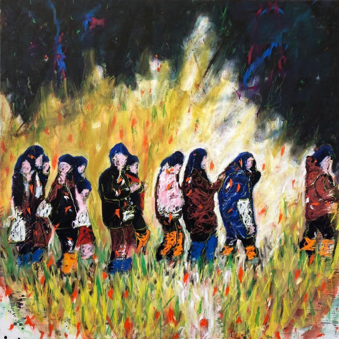 Carlos Perez, Bis bald - Öl, Ölkreide  und Acryl auf Leinwand, 80x180cm, 2020