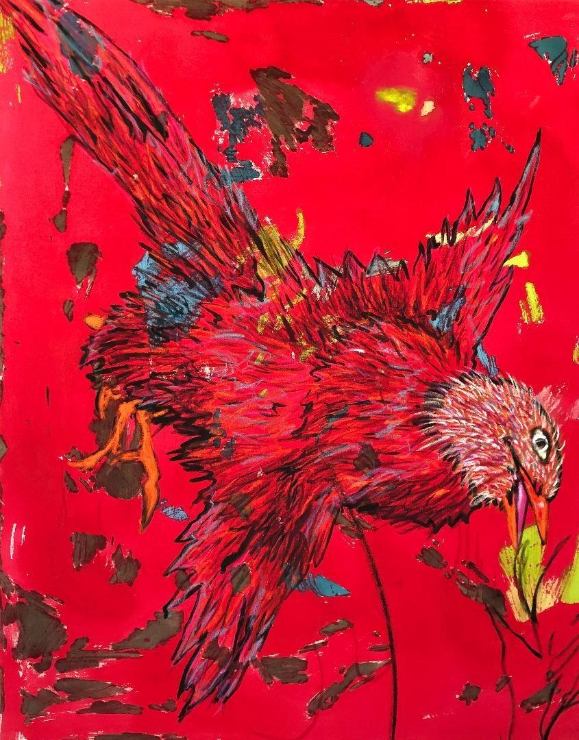 Carlos Perez, Red Bid - Acryl, Öl  und Ölkreide auf Leinwand - 180x140 cm - 2019